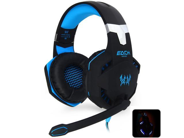 EACH G2100 Gaming Headset Stereo Sound 2.2m Wired Headphone Noise Reduction with Hidden Microphone Vibration for PC Game
