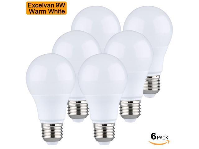 Excelvan@6pcs-Pack 9W AC100-240V LED Bulb Light 3000K Warm White 750 Lumens E26/E27 Base For Home Residential Commercial General Lighting