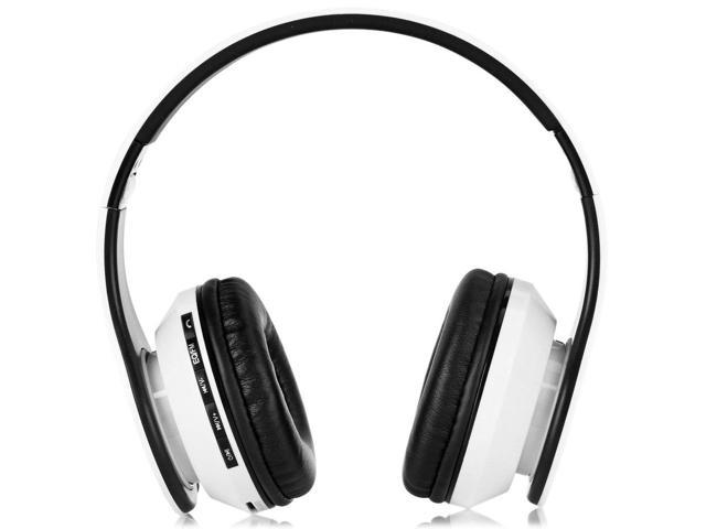 AIAT AT-BT809 Foldable Bluetooth Hands Free Headset MP3 Music Headphone with Microphone Line-in Socket TF Card Slot White
