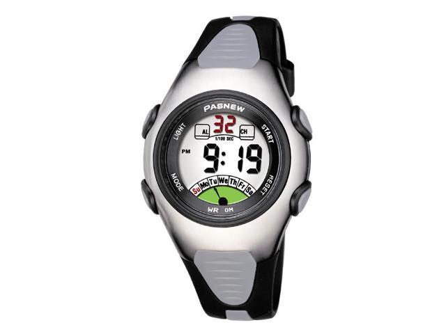Pasnew Fashion Waterproof Children Boys/Girls/Kids Digital Sport Watch with Alarm and Chronograph Black