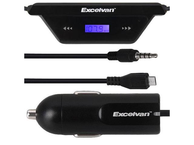 Excelvan F28 FM Transmitter with Micro USB 3.5mm Audio Car Charger for Samsung Galaxy S5/4, Note 4/3
