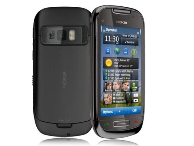 NOKIA C7-00 BLACK CELL PHONE 8GB 8.0 MP GPS WiFi GSM SMARTPHONE