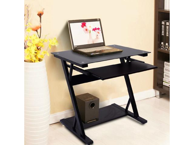 Cozee Simple Construction Office Computer Desk with Keyboard Tray - Black