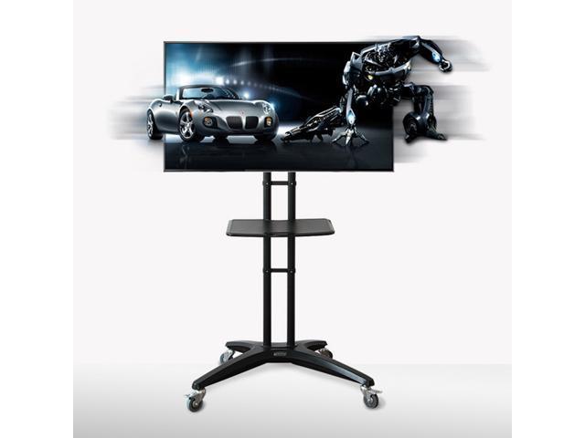 FLEXIMOUNTS Universal Rolling TV Cart w/ DVD Plastic Shelf & Wheels for 32''-65'' Flat Screen Monitors