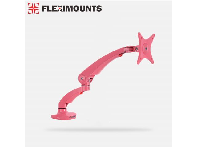 FLEXIMOUNTS M02-P Full Motion Desktop Mount for 10''-27'' LED/LCD/PDP Computer Monitor Pink