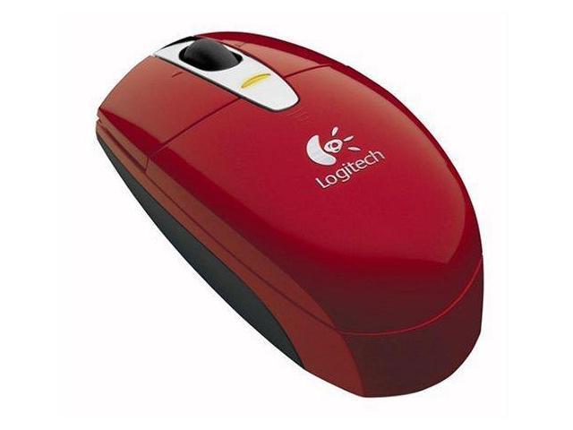 Logitech V200 Cordless Mouse - Red, Snap-on 2.4GHZ Micro-receiver