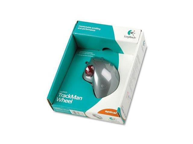 Logitech® Optical TrackMan Wheel Mouse, Two-Button/Scroll, Programmable, Gray/Silver