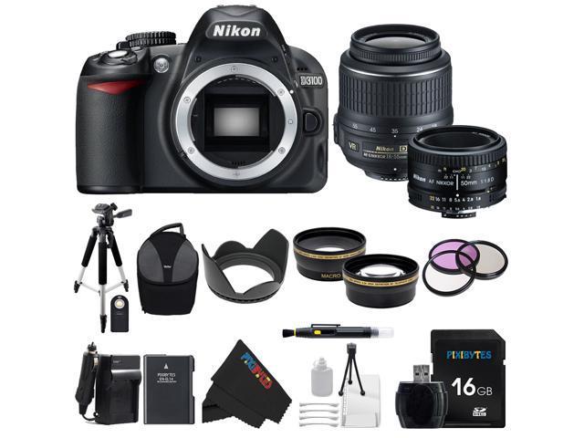 Nikon D3100 DSLR Camera with 18-55mm f/3.5-5.6 AF-S Nikkor Zoom Lens + Nikon 50mm f/1.8D AF Nikkor Lens for Nikon Digital SLR Cameras + ...