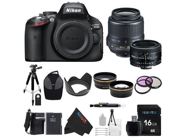 Nikon D5100 DSLR Camera with 18-55mm f/3.5-5.6 AF-S Nikkor Zoom Lens + Nikon 50mm f/1.8D AF Nikkor Lens for Nikon Digital SLR Cameras + ...