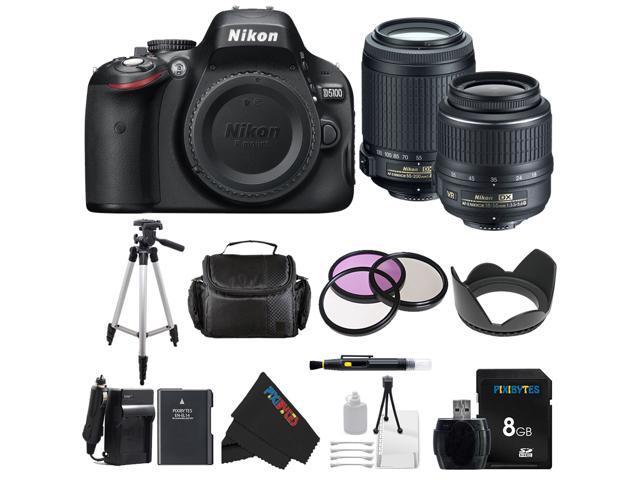 Nikon D5100 DSLR Camera with 18-55mm f/3.5-5.6 AF-S Nikkor Zoom Lens + Nikon 55-200mm f/4-5.6G ED IF AF-S DX VR [Vibration Reduction] Nikkor Zoom ...