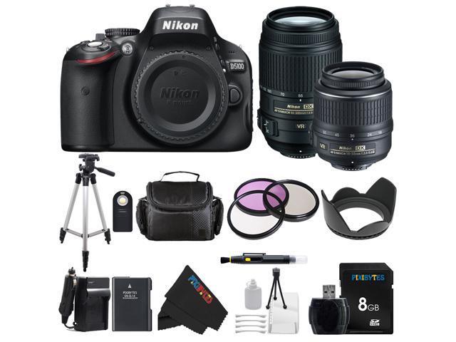 Nikon D5100 DSLR Camera with 18-55mm f/3.5-5.6 AF-S Nikkor Zoom Lens + Nikon 55-300mm f/4.5-5.6G ED VR AF-S DX Nikkor Zoom Lens for Nikon Digital ...