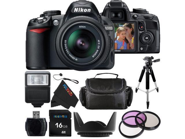 Nikon D3100 14.2MP Digital SLR Camera with 18-55mm f/3.5-5.6 AF-S DX VR Nikkor Zoom Lens + Pixi-Basic Accessory Bundle