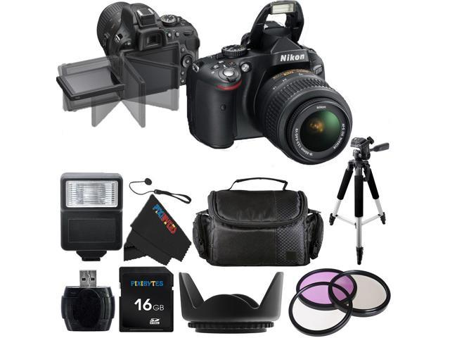 Nikon D5100 16.2MP CMOS Digital SLR Camera with 18-55mm f/3.5-5.6 AF-S DX VR Nikkor Lens + Pixi-Basic Accessory Bundle