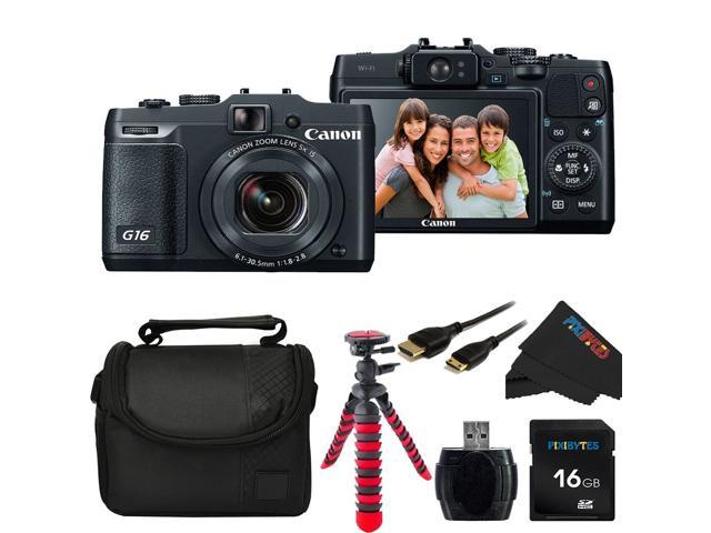Canon PowerShot G16 12.1 MP CMOS Digital Camera with 5x Optical Zoom and 1080p Full-HD Video + Pixi-Basic Accessory Bundle
