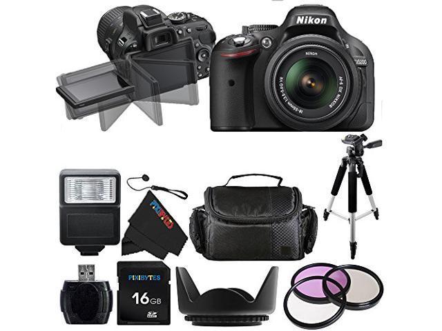 Nikon D5200 24.1 MP Digital SLR Camera with 18-55mm f/3.5-5.6 AF-S DX VR NIKKOR Zoom Lens + Pixi-Basic Accessory Bundle