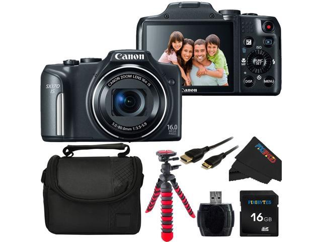 Canon PowerShot SX170 IS 16.0 MP Digital Camera with 16x Optical Zoom and 720p HD Video + Pixi-Basic Accessory Bundle