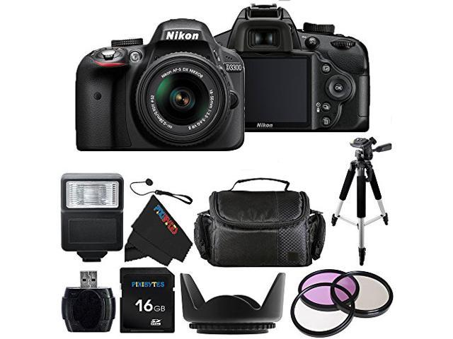 Nikon D3300 24.2 MP CMOS Digital SLR with AF-S DX NIKKOR 18-55mm f/3.5-5.6G VR II Zoom Lens + Pixi-Basic Accessory Bundle