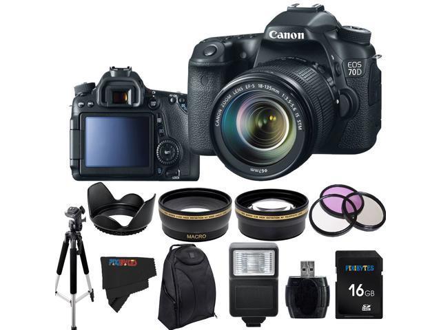 Canon EOS 70D 20.2MP Digital SLR Camera with 18-135mm STM Lens + Pixi-Advanced Accessory Bundle