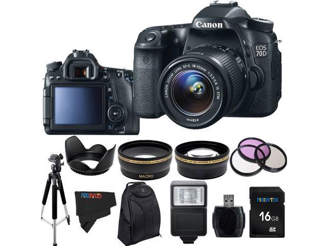 Canon EOS 70D 20.2MP Digital SLR Camera with 18-55mm STM Lens + Pixi-Advanced Accessory Bundle