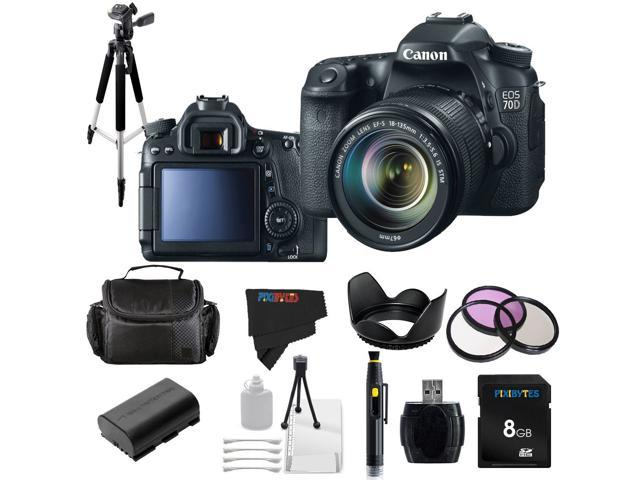 Canon EOS 70D 20.2MP Digital SLR Camera with 18-135mm STM Lens + Pixi-Basic Accessory Bundle