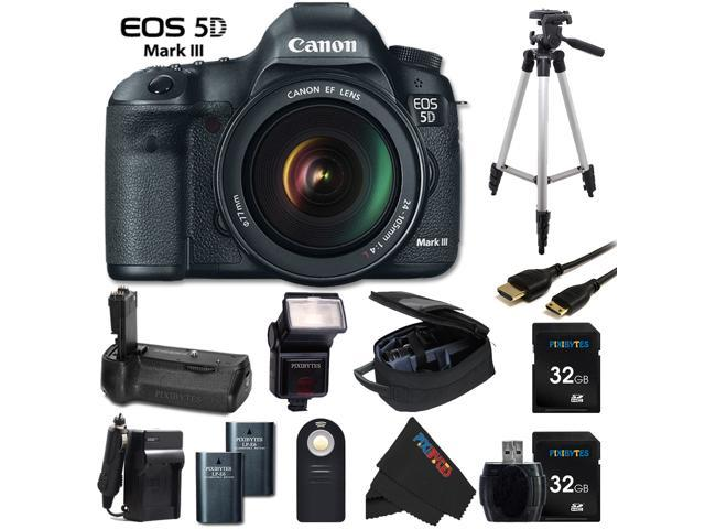 Canon EOS 5D Mark III 22.3 MP Full Frame CMOS Digital SLR Camera with EF 24-105mm f/4 L IS USM Lens + BG-E6 Battery Grip ...