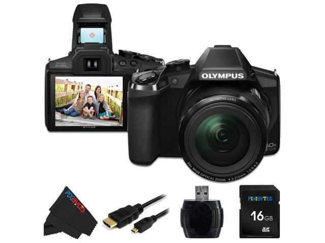 Olympus Stylus SP-100 IHS 16 MP Digital Camera + 16GB Pixi-Basic Accessory Bundle