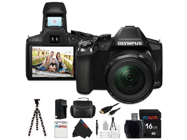 Olympus Stylus SP-100 IHS 16 MP Digital Camera + Pixi-Basic Accessory Bundle