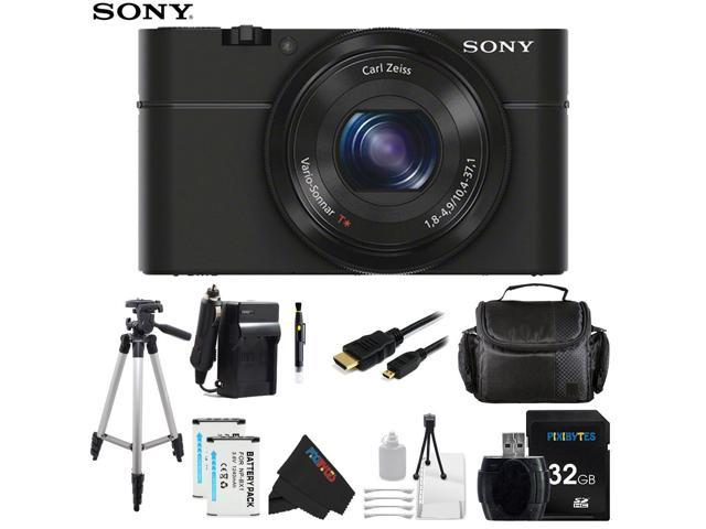 Sony DSC-RX100/B 20.2 MP Exmor CMOS Sensor Digital Camera with 3.6x Zoom + Pixi-Advanced Accessory Bundle