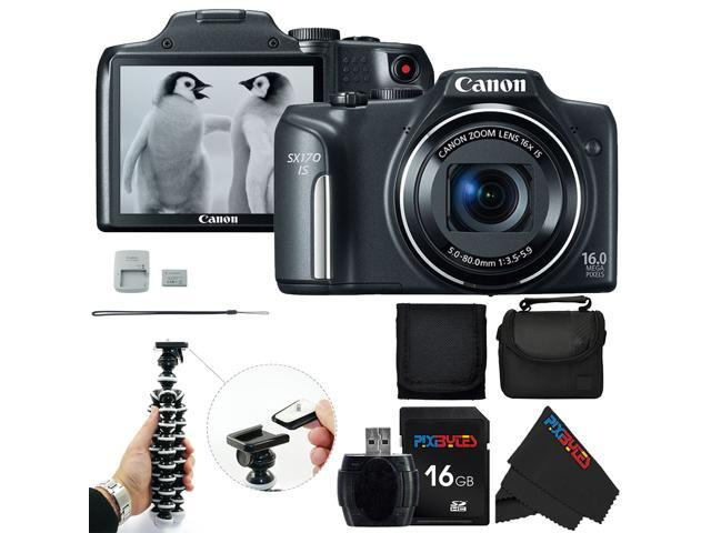 Canon PowerShot SX170 IS 16.0 MP Digital Camera Black with 16x Optical Zoom and 720p HD Video + Pixi-Basic Accessory Bundle