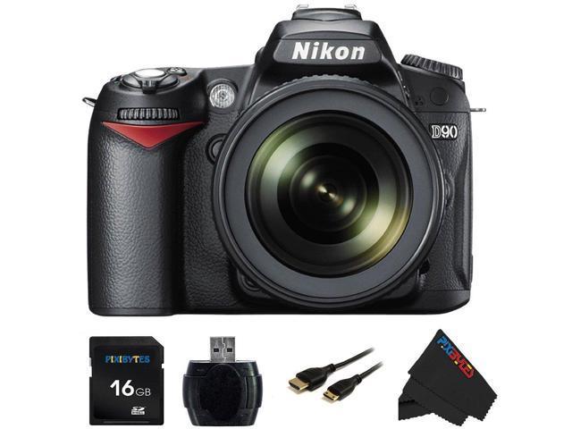 Nikon D90 12.3MP DX-Format CMOS Digital SLR Camera with 18-105 mm f/3.5-5.6G ED AF-S VR DX Nikkor Zoom Lens + Pixi-Basic 16GB Accessory Bundle