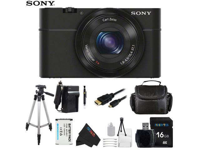 Sony DSC-RX100/B 20.2 MP Exmor CMOS Sensor Digital Camera with 3.6x Zoom + Pixi-Basic Accessory Bundle