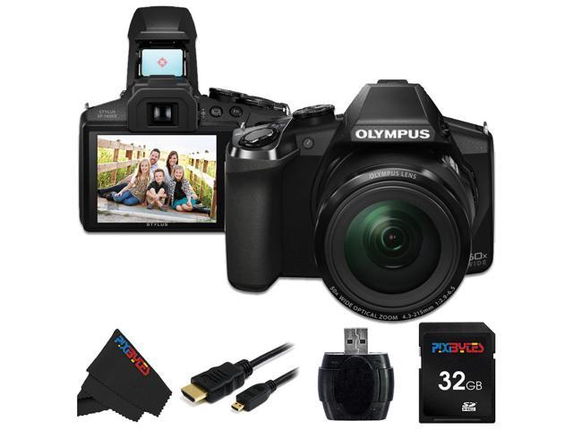 Olympus Stylus SP-100 IHS 16 MP Digital Camera + 32GB Pixi-Basic Accessory Bundle