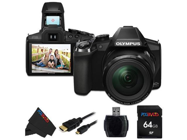 Olympus Stylus SP-100 IHS 16 MP Digital Camera + 64GB Pixi-Basic Accessory Bundle