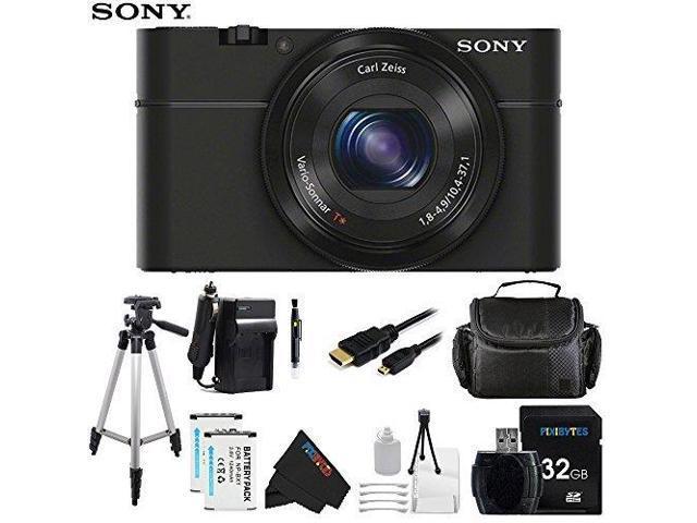Sony DSC-RX100/B 20.2 MP Exmor CMOS Sensor Digital Camera with 3.6x Zoom + Pixi-Advanced Accessory Bundle
