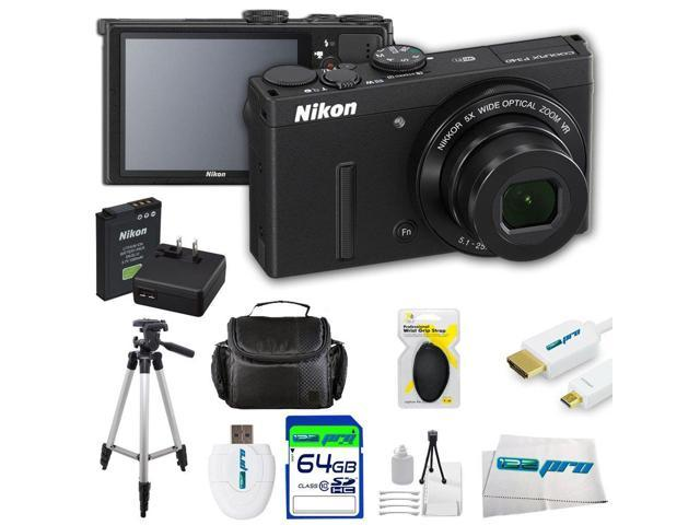 Nikon COOLPIX P340 12.2 MP Wi-Fi CMOS Digital Camera with 5x Zoom NIKKOR Lens and Full HD 1080p Video (Black) + Pixi-Advanced I3ePro Accessory ...