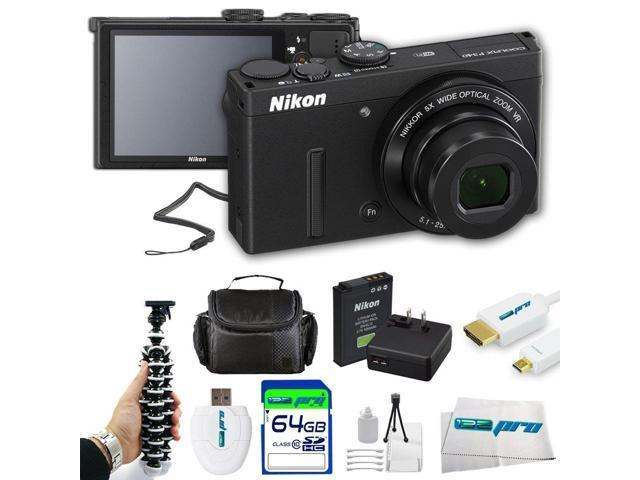 Nikon COOLPIX P340 12.2 MP Wi-Fi CMOS Digital Camera with 5x Zoom NIKKOR Lens and Full HD 1080p Video (Black) + Pixi-Basic 64GB I3ePro Accessory ...