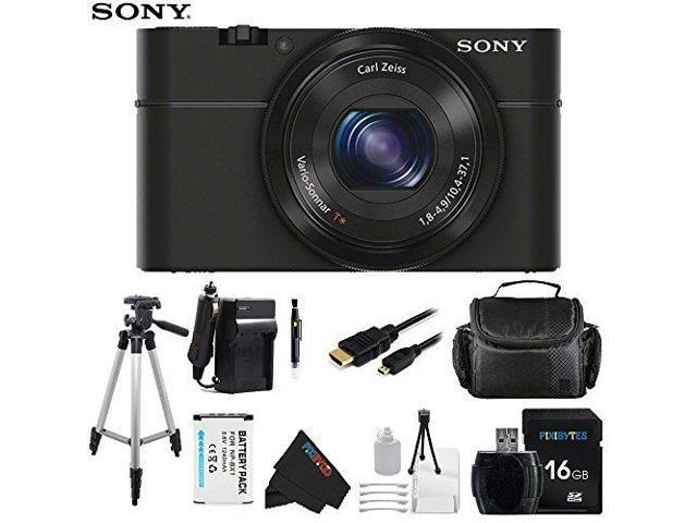 Sony DSC-RX100/B 20.2 MP Exmor CMOS Sensor Digital Camera with 3.6x Zoom + Pixi-Basic Accessory Bundle