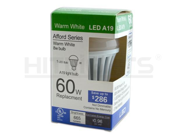 HitLights 3 Pack - 8W A19/ E26, LED Light Bulbs, 60W Replacement, 665 Lumens, Non-Dimmable, UL, 3000K - Warm White