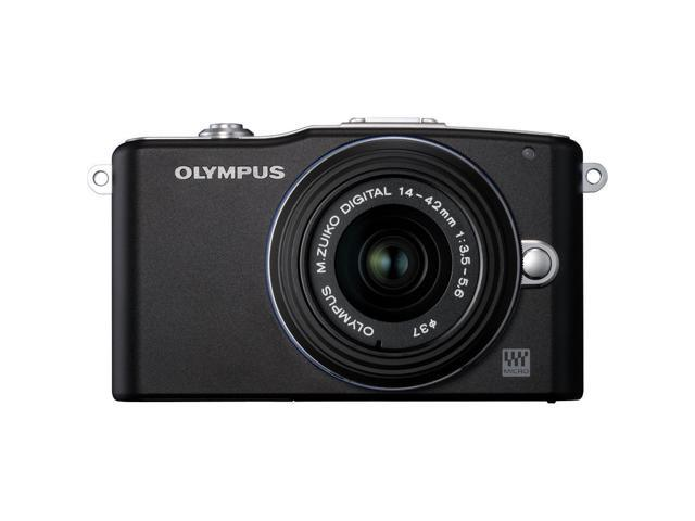 OLYMPUS PEN E-PM1 12.3MP Interchangeable Camera with CMOS Sensor, 3-inch LCD (Black) - Refurbished