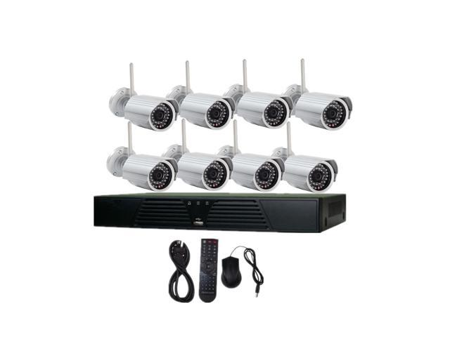 JideTech 8CH NVR 720P Wireless HD Night Vision IP Surveillance Camera Kit CCTV Security Camera System with Smartphone Quick Vlew