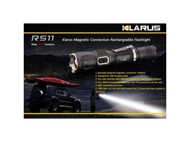 Klarus RS11 Rechargable Black 620 Lumen LED Flashlight W/Pocket Clip