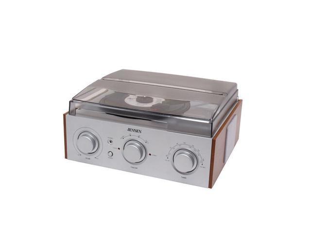 Jensen JTA-220 Turntable 3 Speed & AM/FM Radio W/Dust Cover & Headphone Jack