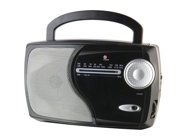 WeatherX WR282B AM/FM Weatherband Radio Analog Black W/Aux In & Built-in Speaker