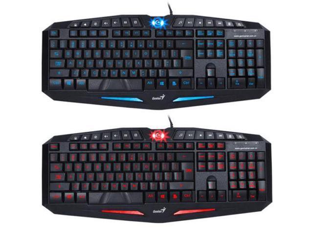 2 Colors LED Backlight Illuminated Ergonomic Gaming USB Wired Keyboard Laptop PC
