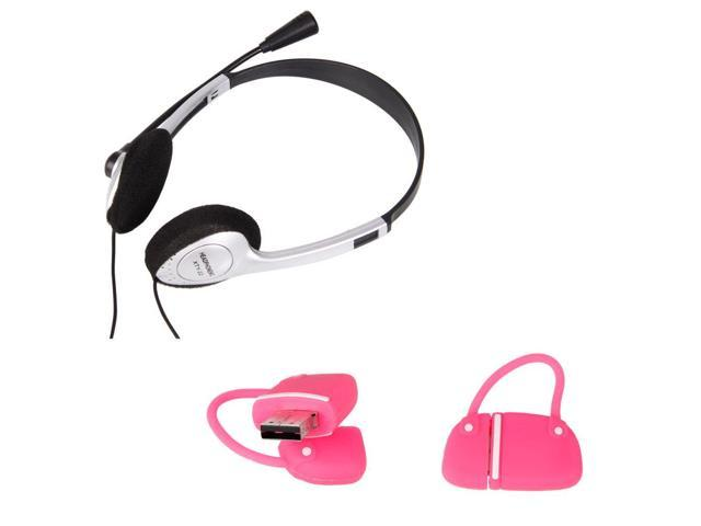 New PC Latop Computer Headphone Headset with Microphone+8GB Handbag Flash Drives