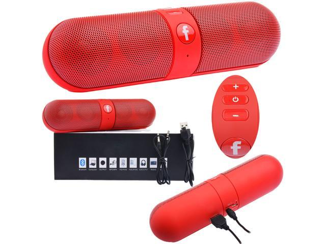 Pill Portable Shockproof Wireless Bluetooth Stereo Speaker For iPhone PC Samsung(Red)