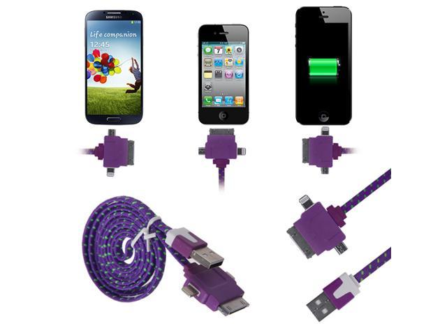 3 Feet 1M 3-in-1 30 Pin 8 Pin Micro USB Cable Cord For Nexus 5 iPhone 6 6Plus 5 5S 5C 4 4S iPod iPad ...