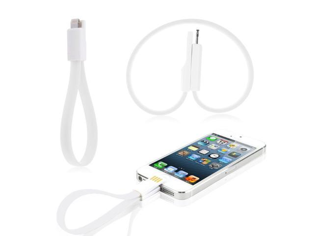 Magnet Flat Short 8 Pin USB Data Transmit Charger Cable Cord For iPhone 6 6Plus 5 5S 5C iPad Mini Air iPod Nano 7th White ...