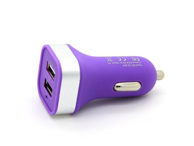 2 Ports Portable USB Car Charger Power Charging Adapter For iPhone 6 6Plus 5 5S Mobile Phone Smartphone iPad iPod Samsung Purple