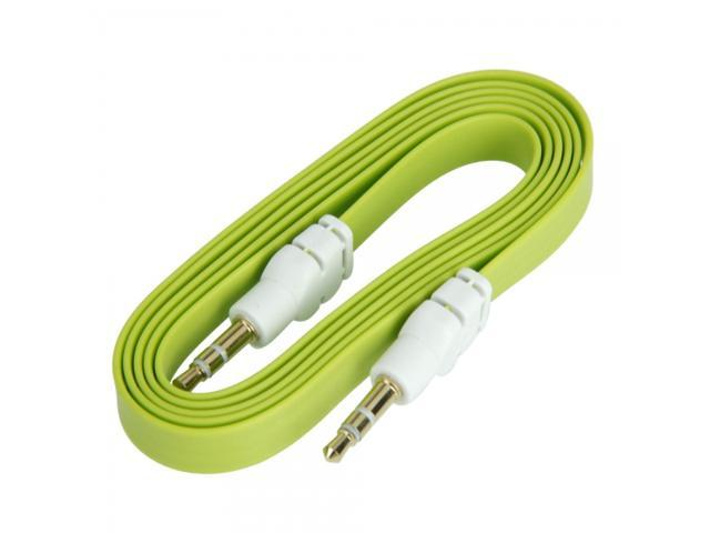 1M 3FT 3.5mm Flat Male to Male Audio Extension Cable for iPhone iPad iPod Green